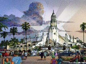 Carthay Circle Theatre wordt de blikvanger van Buena Vista Street - Artist impression: (c) Disney