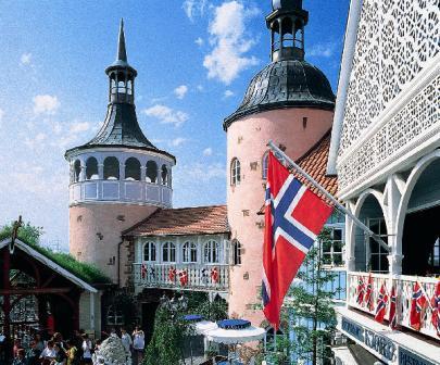 Scandinavische gebouwen in het Europa-Park