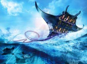 Artist impression van de achtbaan Manta in SeaWorld