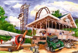 Het station van de nieuwe achtbaan