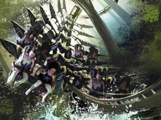 Een tekening van de nieuwe achtbaan X-Raptor in Gardaland