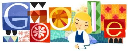 De doodle van Mary Blair op Google