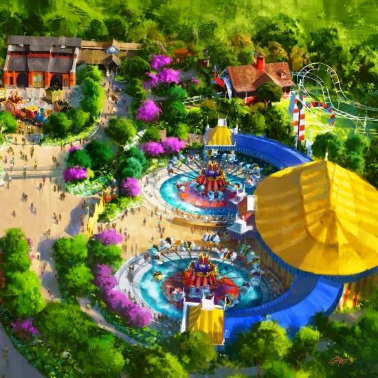 Tweemaal Dumbo in het nieuwe Fantasyland in Magic Kingdom - Artist impression: (c) Disney