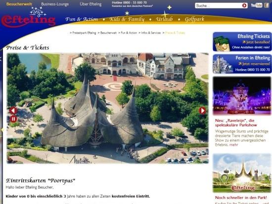 De Duitse website van de Efteling