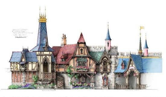 Ontwerpschets van Michel den Dulk: de Royal Hall in Fantasy Faire (Beeld: Disney)