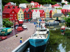 Het Noorse stadje Bergen in Miniland in Legoland Denemarken