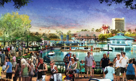 De Marketplace krijgt een extra wandelpromenade over het water - Concept art: (c) Disney