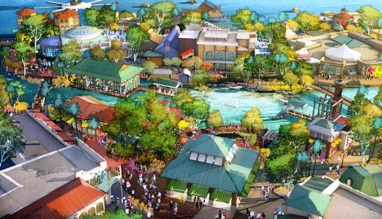 Het nieuwe Disney Springs, met onder Town Center en bovenin The Landing - Concept art: (c) Disney
