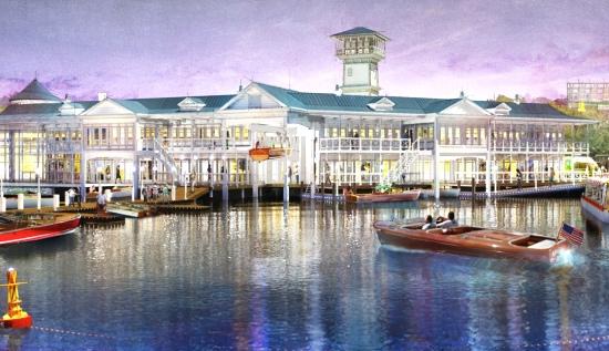 In The Landing liggen diverse restaurants aan het water - Concept art: (c) Disney