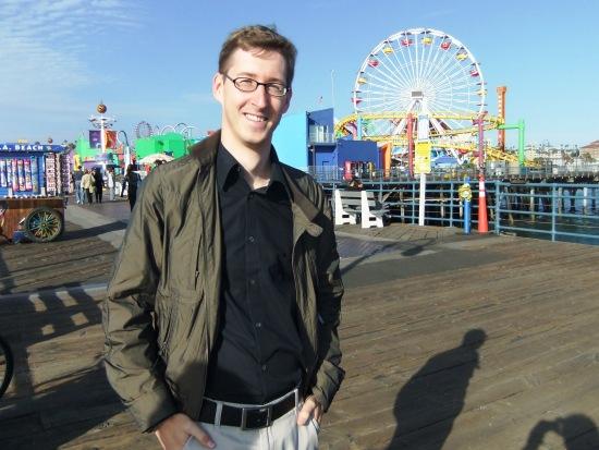 Michel den Dulk op de Santa Monica Pier, vlakbij zijn werkplek - Foto: (c) Parkplanet