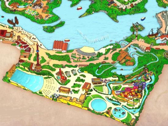 De plattegrond van het nieuwe Aqua Mágica in Isla Mágica