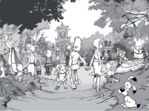 La Fôrest d'Idéfix in Parc Astérix - Tekening: Denis Viougeas