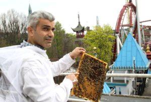Bijenkorven in Tivoli Gardens in Kopenhagen, Denemarken
