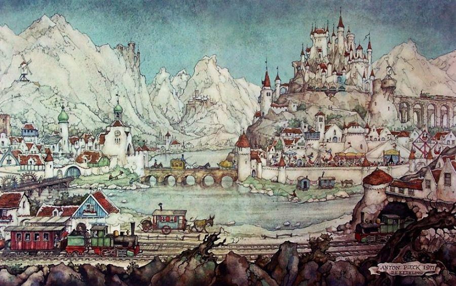 In 1971 krijgen bezoekers van de Efteling een tekening van Anton Pieck van het Diorama cadeau