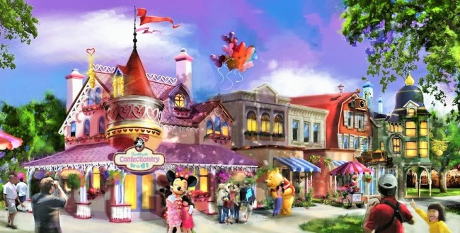 Sweetheart Confectionary op Mickey Avenue in Shanghai Disneyland - Artist impression: (c) Disney