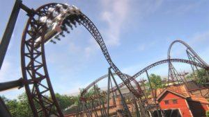 De Diveloop van achtbaan Gold Rush in Attractiepark Slagharen
