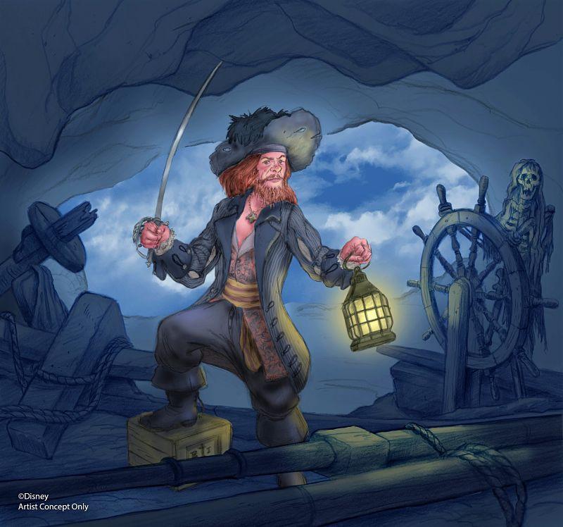 Ontwerp voor nieuwe scène met kapitein Barbossa in Pirates of the Caribbean in Disneyland - Tekening: © Disney