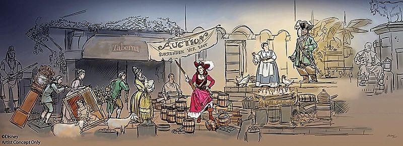 Ontwerp voor nieuwe scène in Pirates of the Caribbean in Disneyland - Tekening: © Disney