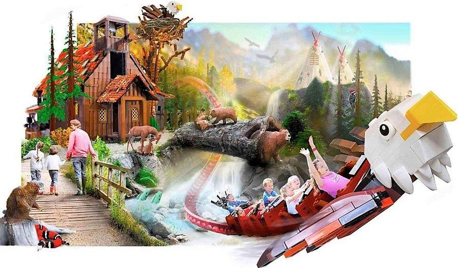 Concept van achtbaan Den Flyvende Ørn in Legoland Billund