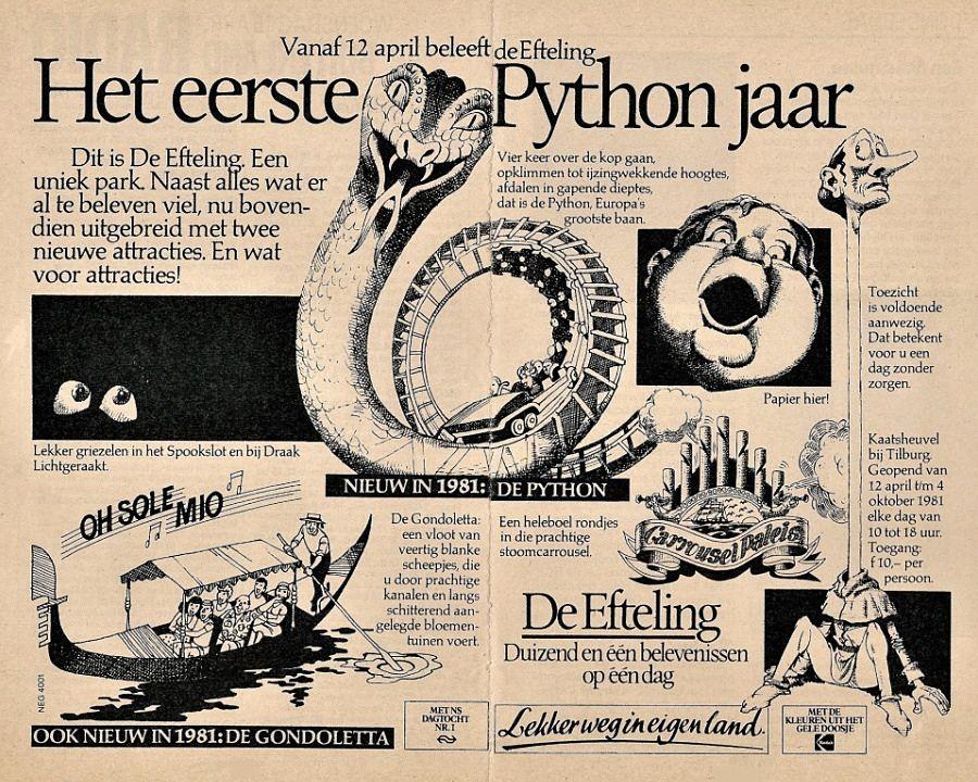 Eerste Python-advertentie van de Efteling, 1981 - Archiefbeeld: Adri van Esch