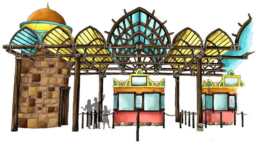 Artist impression van de kassa's van Toverland