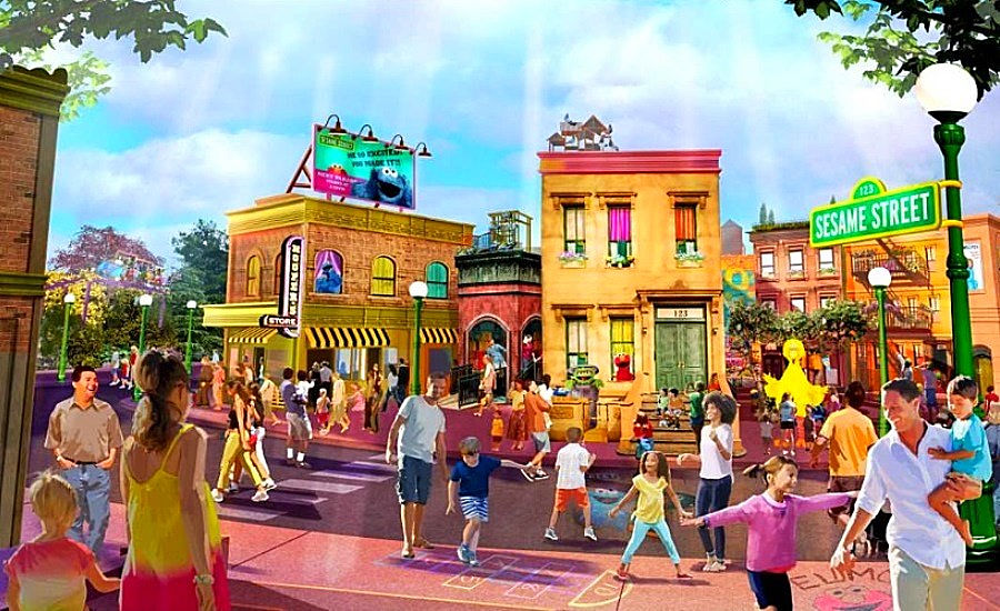 Schets van Sesame Street Land in Sea World Orlando