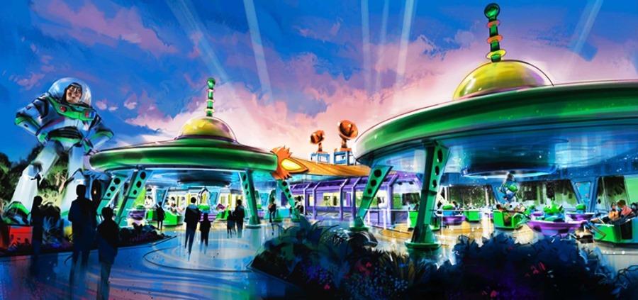 Concept art voor Alien Swirling Saucers – Beeld: © Disney