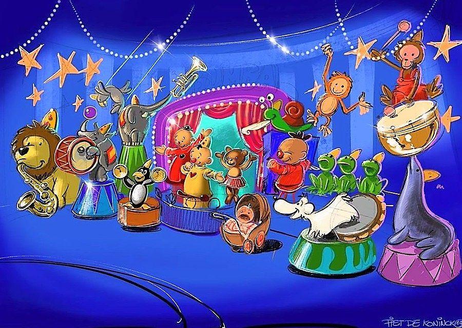 Schets voor Circus Bumba in Plopsaland De Panne - Tekening: Piet De Koninck