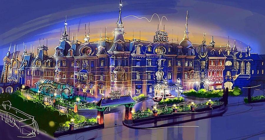 Schets voor het Plopsa Hotel bij Plopsaland De Panne - Tekening: Piet De Koninck