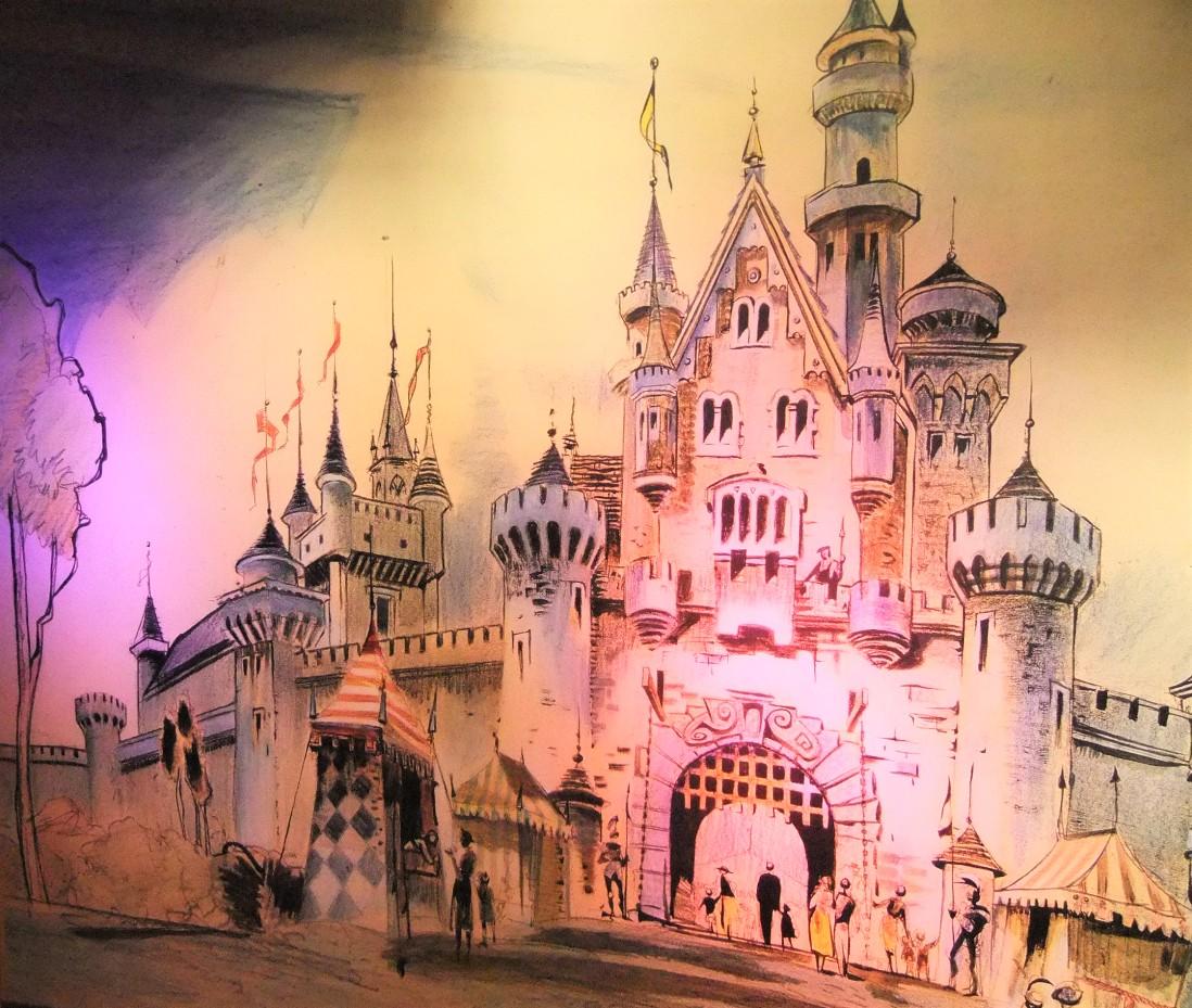 Eén van de eerste ontwerpschetsen van het kasteel van Disneyland - Foto: © Adri van Esch