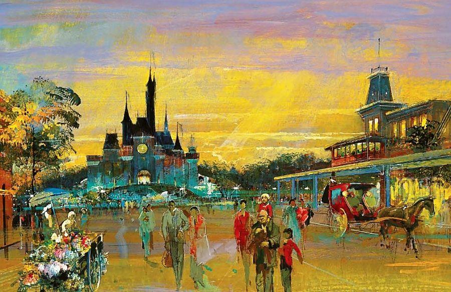 Schets uit 1988 van Main Street in Euro Disneyland - Artist impession: © Disney