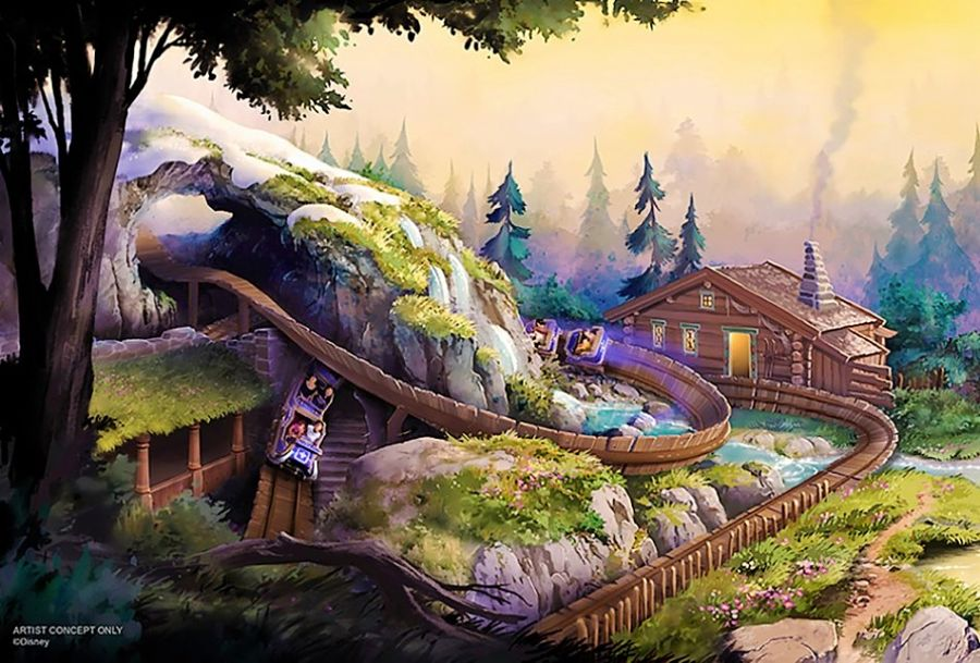 Plannen voor Oaken's Sliding Sleighs in Hong Kong Disneyland - Artist impression: © Disney