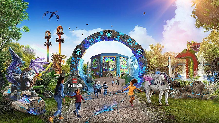 De entree van Lego Mythica in Legoland Windsor