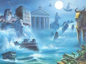Artist impression van de wildwaterbaan in Big Bang Schtroumpf (1989)